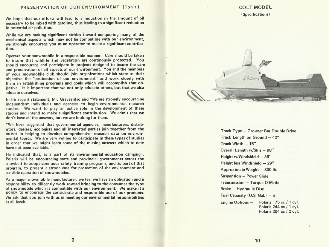 1972 POLARIS SNOWMOBILE OWNER'S MANUAL THIS MANUAL WAS PROVIDED BY A FRIEND  OF THIS SITE. HE DID NOT WISH TO HAVE HIS NAME POSTED.